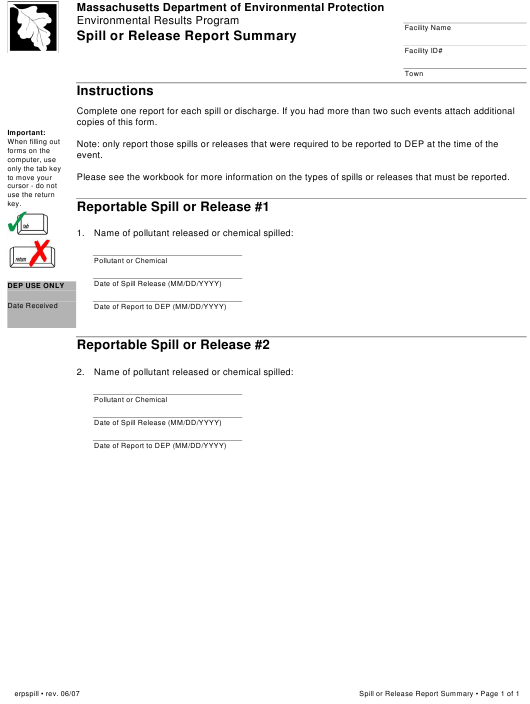 """""""Spill or Release Report Summary Form"""" - Massachusetts Download Pdf"""