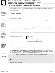 """""""Toxics Use Reduction Planner Continuing Education Credit Pre-approval Form"""" - Massachusetts"""