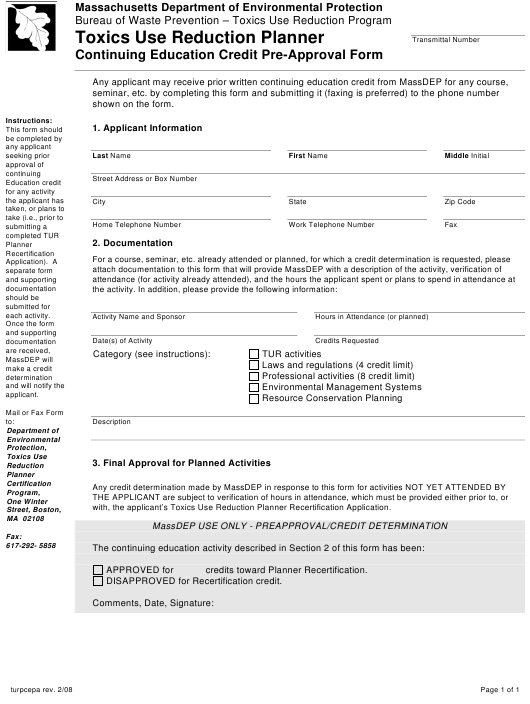 """""""Toxics Use Reduction Planner Continuing Education Credit Pre-approval Form"""" - Massachusetts Download Pdf"""