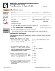 """Printer Compliance Certification Form"" - Massachusetts"
