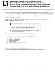"""""""Instructions for Certification and Re-certification General Practice Toxics Use Reduction Planner"""" - Massachusetts"""