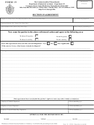 Form 19 Section 19 Agreement - Massachusetts