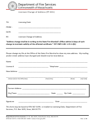 "Form FP-001 ""Licensee Change of Address"" - Massachusetts"