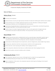 "Form FP-009 ""Fireworks Display Checklist"" - Massachusetts"