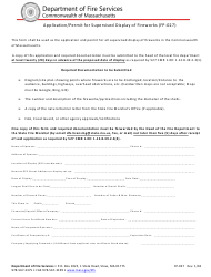 """Form FP-027 """"Application/Permit for Supervised Display of Fireworks"""" - Massachusetts"""