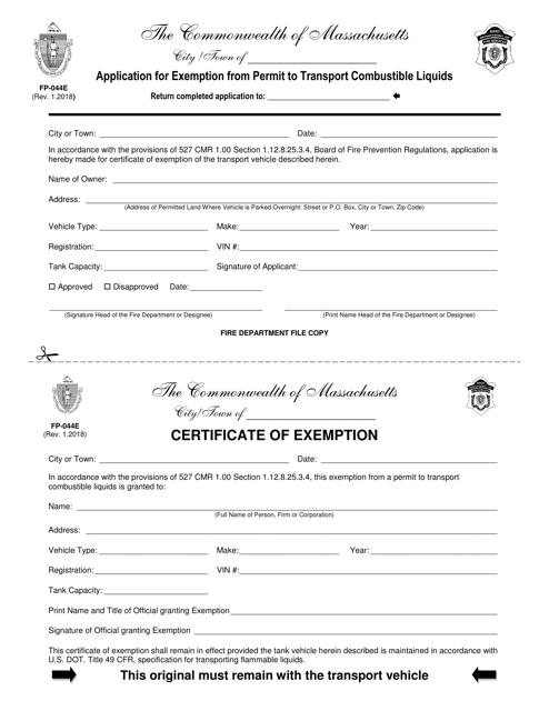 Form FP-044E  Printable Pdf