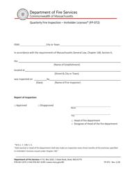 """Form FP-072 """"Quarterly Fire Inspection - Innholder Licenses"""" - Massachusetts"""