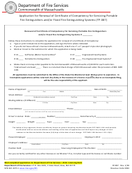 """Form FP-087 """"Application for Renewal of Certificate of Competency for Servicing Portable Fire Extinguishers and/or Fixed Fire Extinguishing Systems"""" - Massachusetts"""