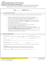 """Form FP-081 """"Application for License to Sell Black or Smokeless Powder"""" - Massachusetts"""
