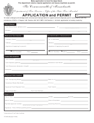 """Form FP-292 """"Application and Permit"""" - Massachusetts"""