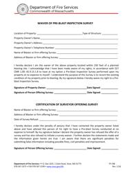 "Form FP-298 ""Waiver of Pre-blast Inspection Survey"" - Massachusetts"