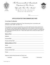 "Form FP-295 ""Application for Tank Dismantling Yard"" - Massachusetts"