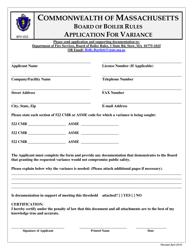 """Form BPV-032 """"Application for Variance"""" - Massachusetts"""