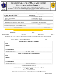 Form BPV-030 Inspection Application - Pressure Vessel Data - Massachusetts