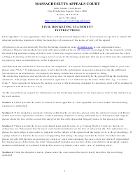 """Civil Docketing Statement Form"" - Massachusetts"