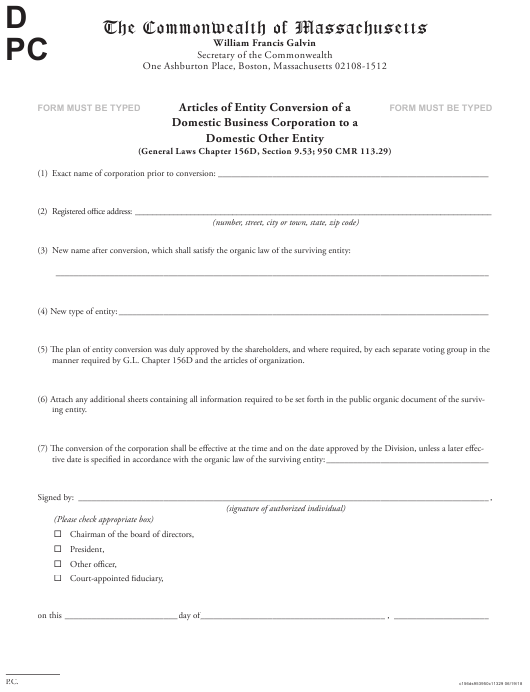 """""""Articles of Entity Conversion of a Domestic Business Corporation to a Domestic Other Entity"""" - Massachusetts Download Pdf"""