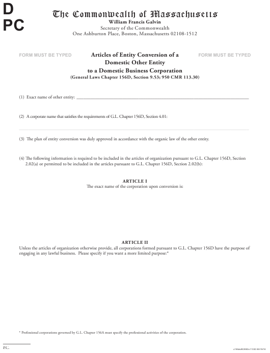 """""""Articles of Entity Conversion of a Domestic Other Entity to a Domestic Business Corporation"""" - Massachusetts Download Pdf"""