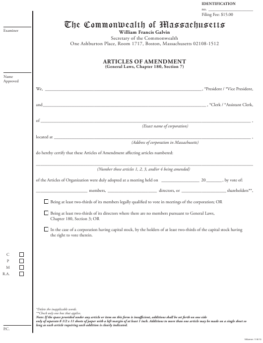 """""""Articles of Amendment (General Laws, Chapter 180, Section 7)"""" - Massachusetts Download Pdf"""