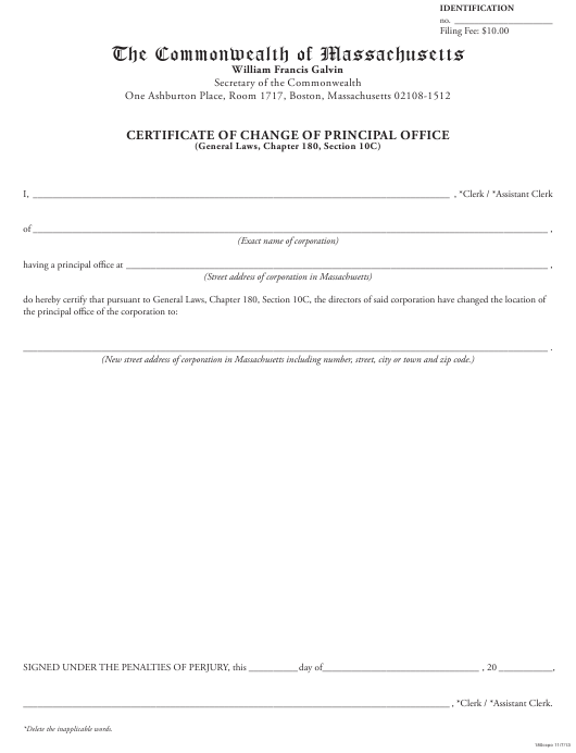 """""""Certificate of Change of Principal Office"""" - Massachusetts Download Pdf"""