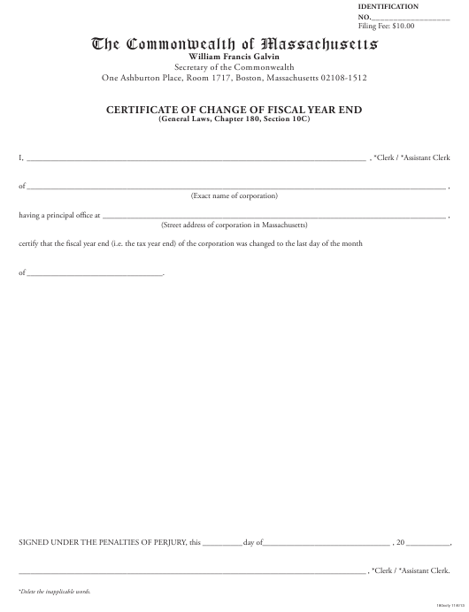 """Certificate of Change of Fiscal Year End"" - Massachusetts Download Pdf"