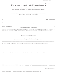 """Certificate of Appointment of Resident Agent"" - Massachusetts"