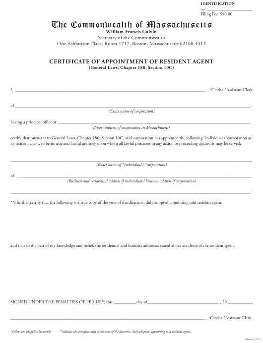 """""""Certificate of Appointment of Resident Agent"""" - Massachusetts Download Pdf"""