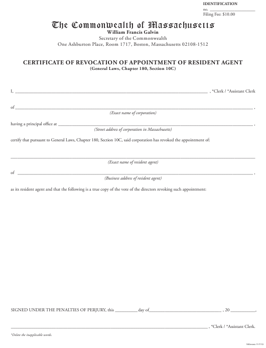 """Certificate of Revocation of Appointment of Resident Agent"" - Massachusetts Download Pdf"
