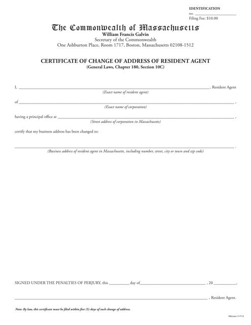 """Certificate of Change of Address of Resident Agent"" - Massachusetts Download Pdf"