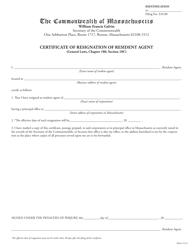 """""""Certificate of Resignation of Resident Agent"""" - Massachusetts"""