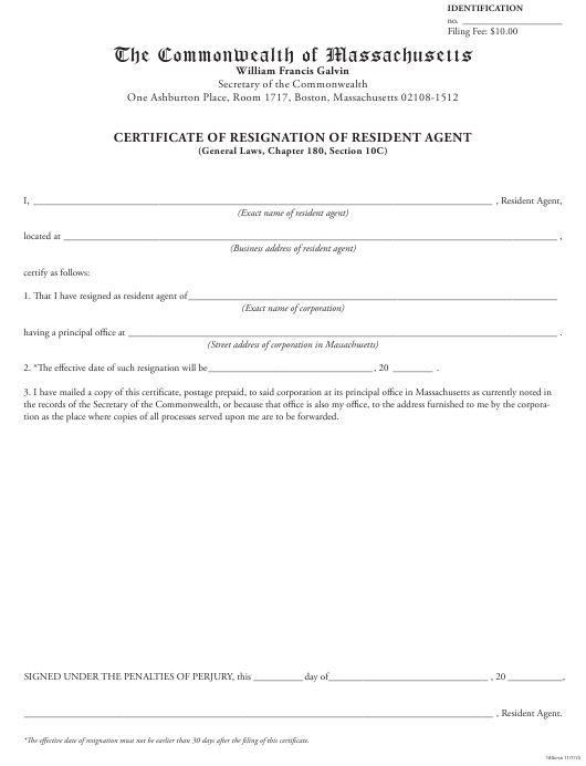 """Certificate of Resignation of Resident Agent"" - Massachusetts Download Pdf"