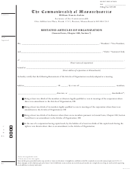 "Form 180RES ""Restated Articles of Organization"" - Massachusetts"