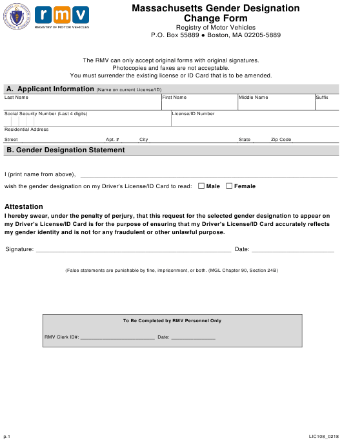 Form LIC108  Printable Pdf
