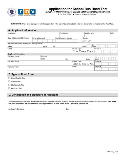 Form VSC113  Printable Pdf