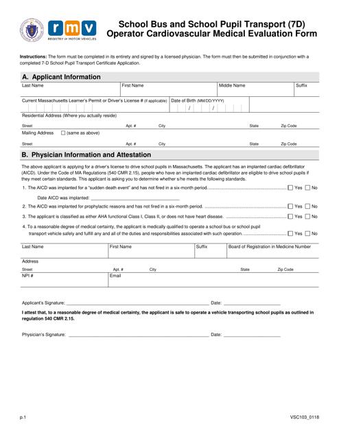 Form VSC103  Printable Pdf