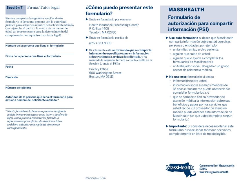 Formulario PSI (SP)  Printable Pdf