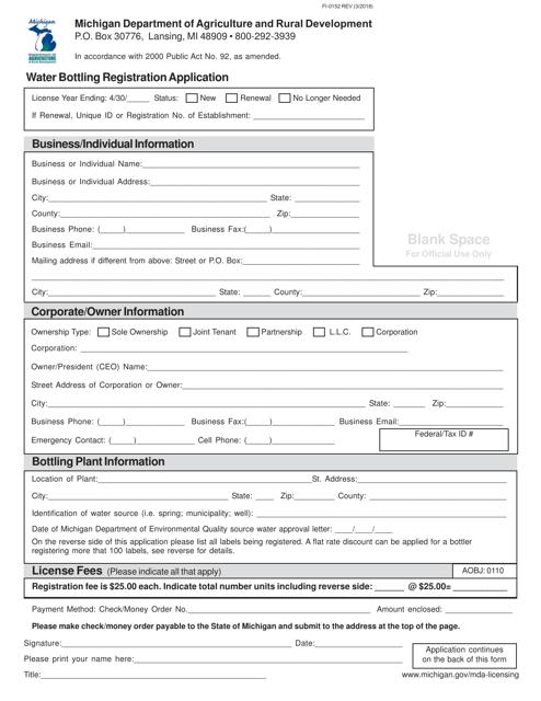 Form FI-0152 Printable Pdf