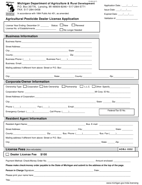 Form PI-233  Printable Pdf