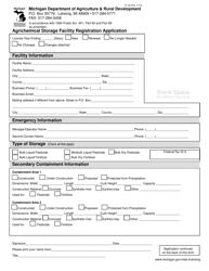 "Form PI-192 ""Agrichemical Storage Facility Registration Application"" - Michigan"