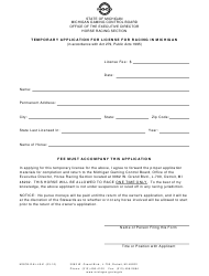"""Form MGCB-RAL-4041 """"Temporary Application for License for Racing in Michigan"""" - Michigan"""