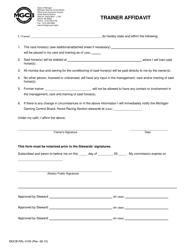 "Form MGCB-RAL-4100 ""Trainer Affidavit"" - Michigan"