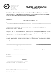 "Form MGCB-RAL-4127 Attachment B ""Release Authorization"" - Michigan"