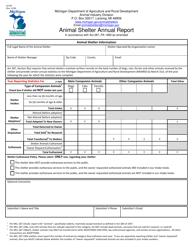 "Form AI-034 ""Animal Shelter Annual Report"" - Michigan"