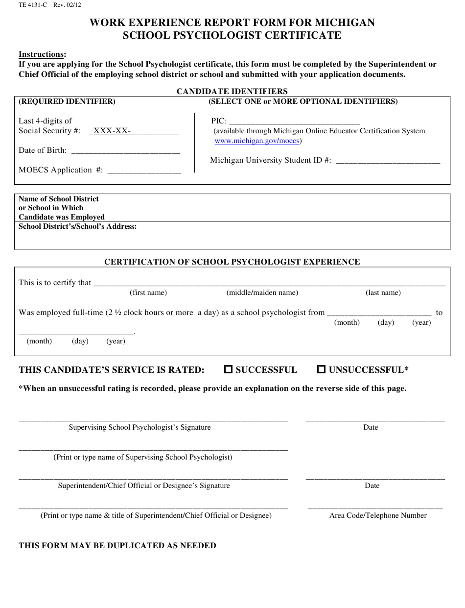 experience form report psychologist certificate michigan template templateroller 1819 printable fill