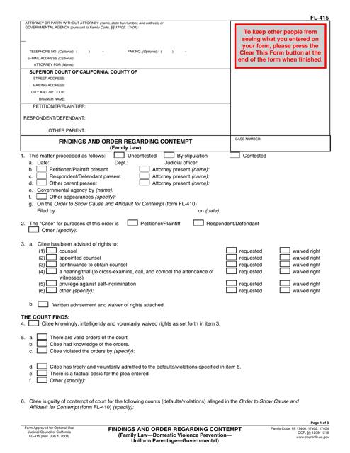 Form FL-415  Printable Pdf