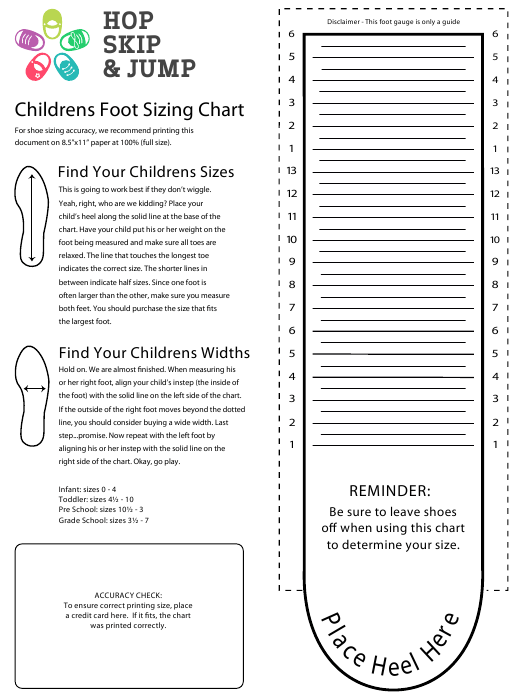 image relating to Kids Shoe Size Chart Printable referred to as Childrens Foot Size Chart - Hop Miss out on Bounce Obtain