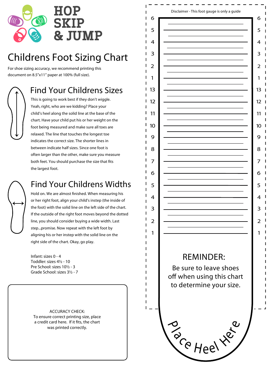 Childrens Foot Sizing Chart Hop Skip Jump Download Printable Pdf Templateroller
