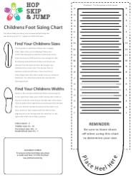 Childrens Foot Sizing Chart - Hop Skip & Jump