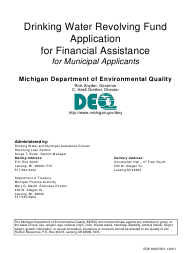 """Form EQP3525 """"Drinking Water Revolving Fund Application for Financial Assistance for Municipal Applicants"""" - Michigan"""