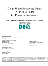 "Form EQP3524 ""Clean Water Revolving Funds Application for Financial Assistance"" - Michigan"