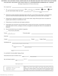 Form DHS-4820-SP Entrega Voluntaria Para Adopcion De Un Recien Nacido Por Parte De Un Padre - Michigan